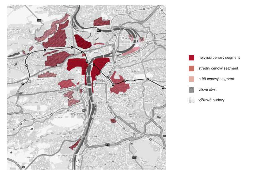 Oblasti luxusního segmentu v Praze a jejich cenová úroveň | Zdroj: LEXXUS